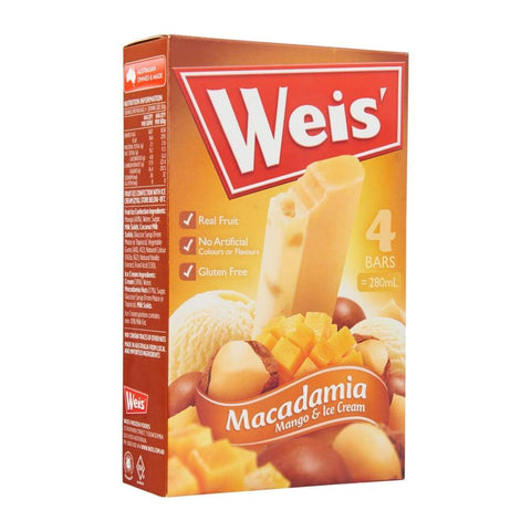 Weis Macadamia Mango Ice Cream Bar 8X(4X280Ml)