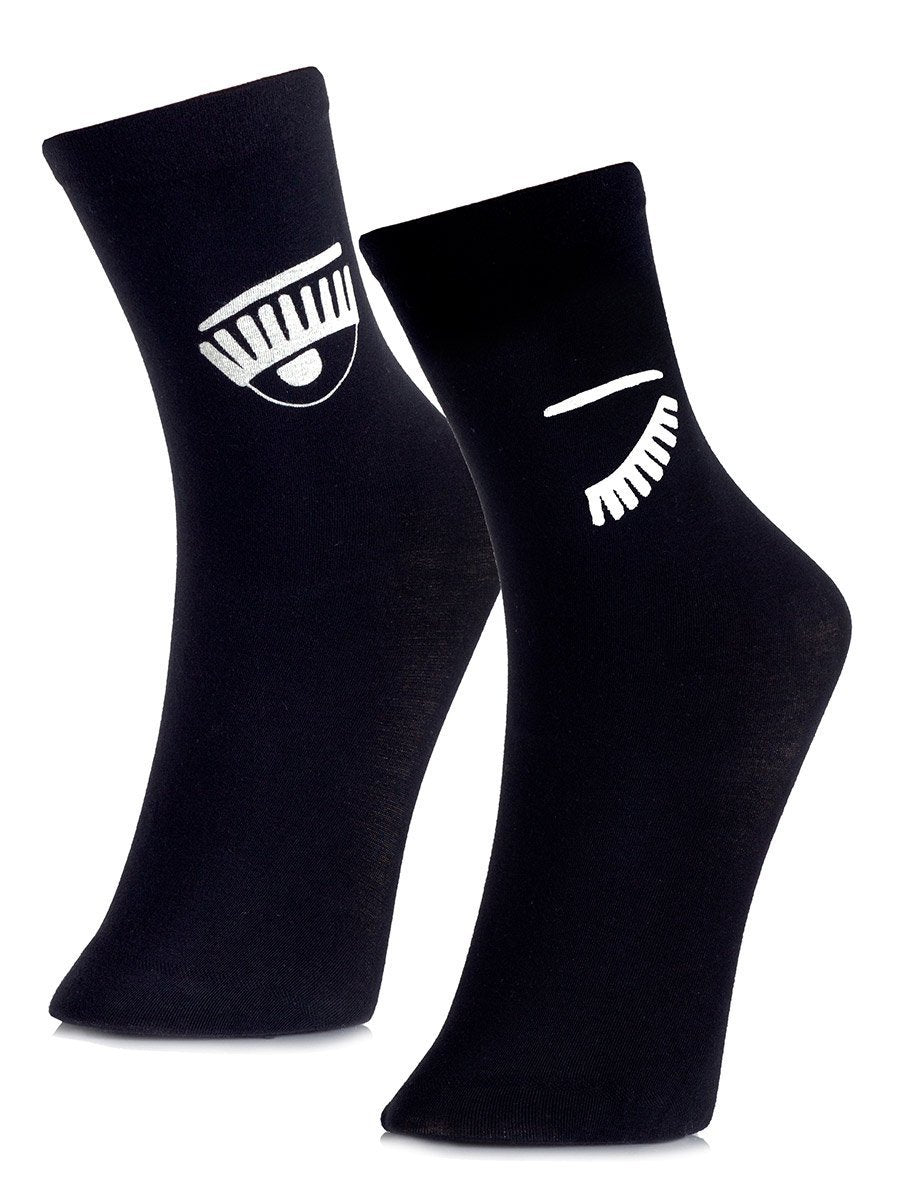 Wink Wink Black Ankle Socks