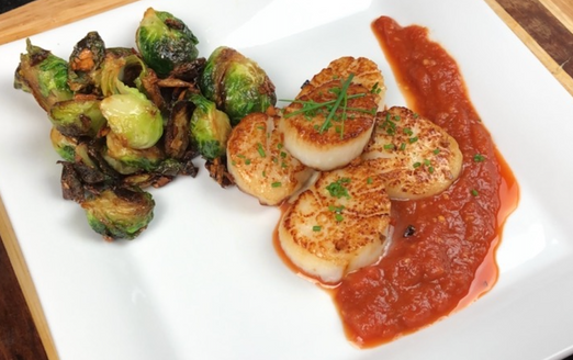 Seared Scallops with Brussel Sprouts