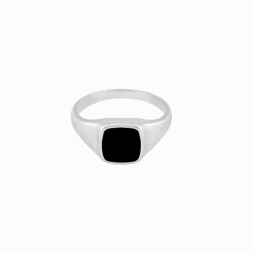 Flawed | Black Dhalia Ring Zilver