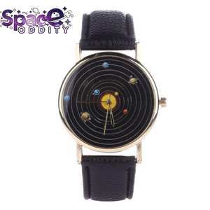 Solar System Leather Clock