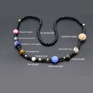 9 Planets In The Solar System Space Cosmic  Necklace