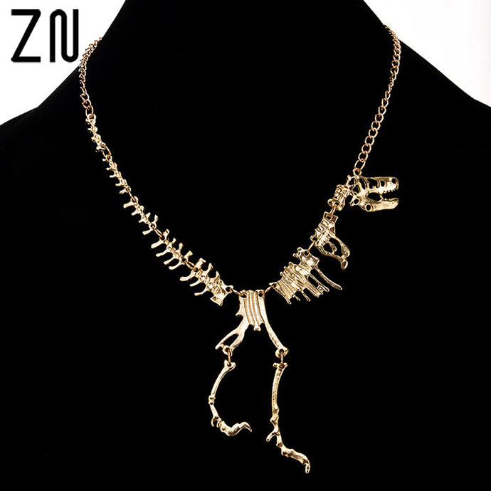 New fashion Jewelry Gothic Tyrannosaurus Rex Skeleton Dinosaur Pendant Necklace Plated Gold Chain Choker Necklace For Women