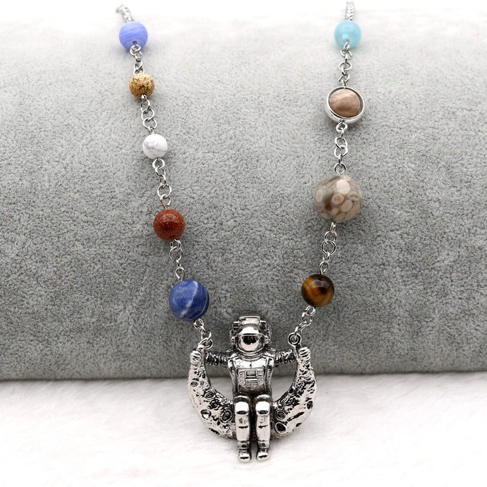 Solar System 9 Planets Astronaut On The Moon Amazing Pendant Necklace