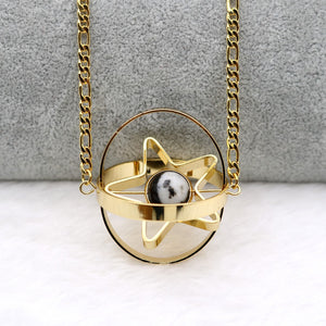 Rotating Geometric Astronomy Solar System necklace Revolving Space