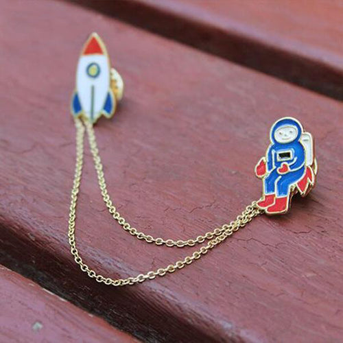 Alloy Astronaut Rocket Brooch Pins