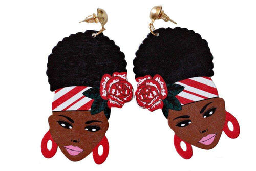 Melanin Puff Girl Earrings: Red
