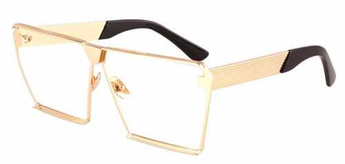 Gold Oversized Square Flat Top Sunglasses