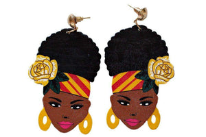 Melanin Puff Girl Earrings: Yellow