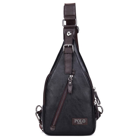 Theftproof Magnetic Button Leather Chest Bags Mens