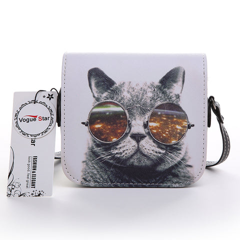 Cat Wearing Glasses + Cute Girl Handbag