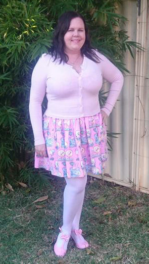 Hell Bunny Paloma Cardigan in Dolly Pink & Maxine Mini Dress by Jennifer Bourke