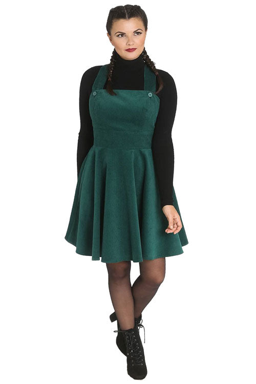 Hell Bunny Wonder Years Pinafore in Dark Green