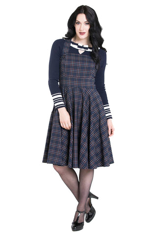 Hell Bunny Peebles Pinafore Dress in Navy