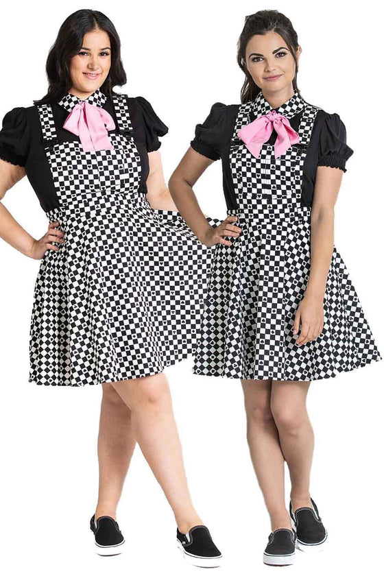 Hell Bunny Pokerface Pinafore Dress