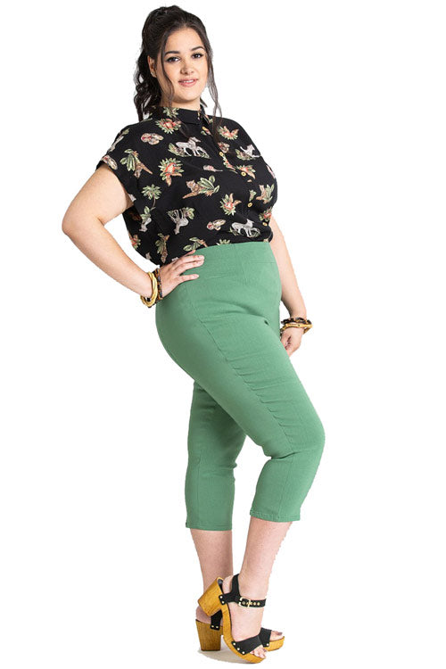 Hell Bunny Tina Stretchy Capri Pants in Khaki