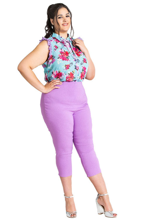 Hell Bunny Tina Stretchy Capri Pants in Lavender