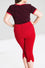 Hell Bunny Tina Stretchy Capri Pants in Red