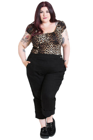 Hell Bunny Charlie Black Denim Capri Pants