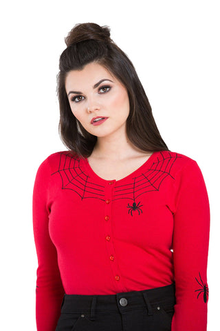 Hell Bunny Spider Cardigan in Red