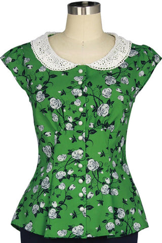 Chicstar Alice Blouse in Green Floral