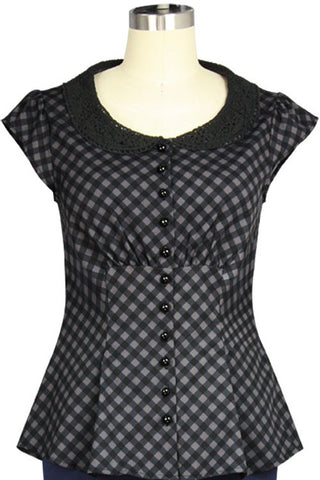 Chicstar Alice Blouse in Grey Check