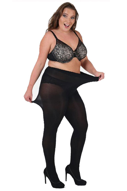Pamela Mann Hosiery Curvy Super-Stretch 90 Denier Tights in Black