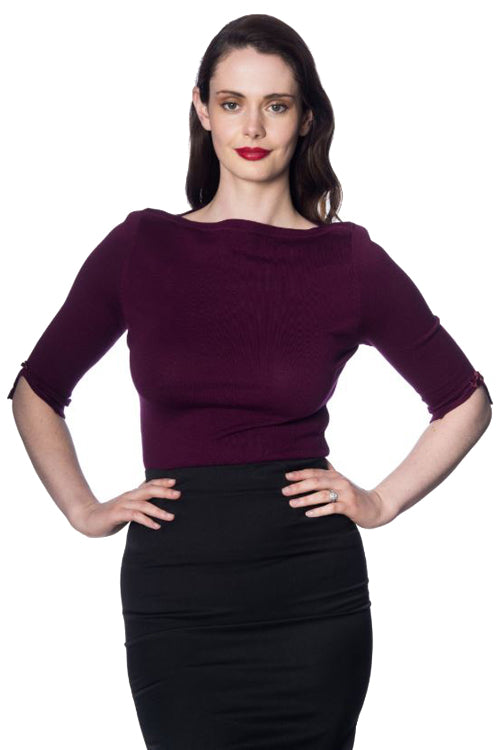 Banned Addicted Sweater in Aubergine