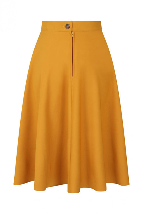 Hell Bunny Amelie 50's Skirt in Mustard