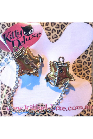 Kitty Deluxe Cardigan Clips in Anchor Star Design