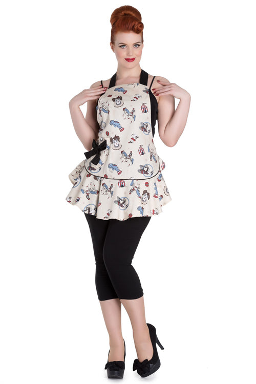 Hell Bunny Circus Apron / Pinny in Cream