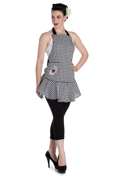 Hell Bunny Ladybird Apron / Pinny in Cream