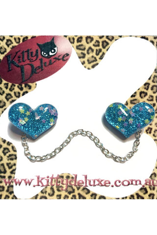 Kitty Deluxe Cardigan Clips in Blue Sparkle Heart Design