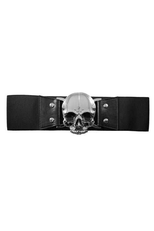 Kreepsville 666 Elastic Belt with Skull Buckle in Black