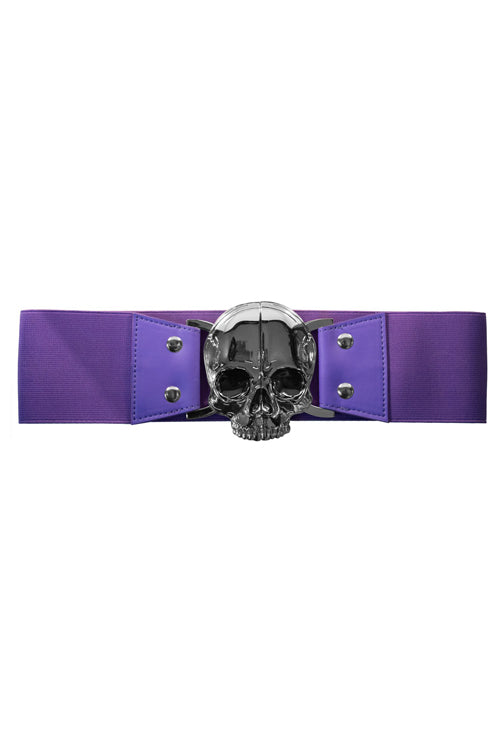 Kreepsville 666 Elastic Belt with Skull Buckle in Purple