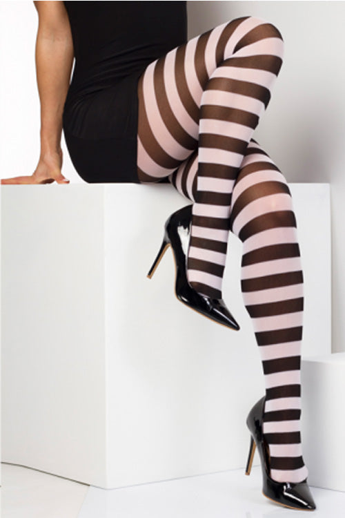 Pamela Mann Hosiery 50 Denier Opaque Striped Pantyhose in Black/White