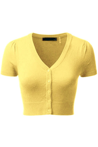 MAK Sweaters Cropped Cardigan with Short Sleeves in Baby Yellow