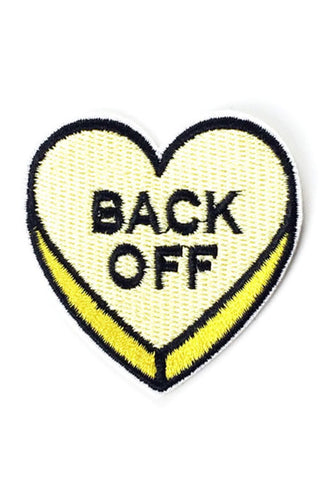 "Kitty Deluxe Iron on Patch of Mini Heart Candy ""BACK OFF"""