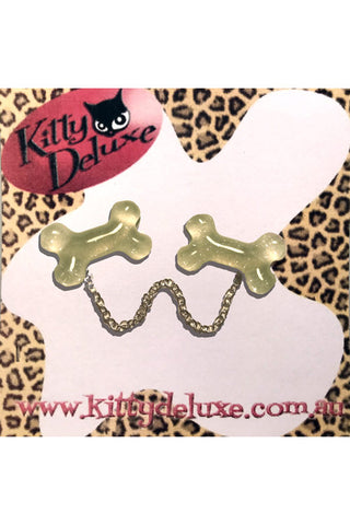 Kitty Deluxe Cardigan Clips in Huge Bone Design * GLOW IN THE DARK *
