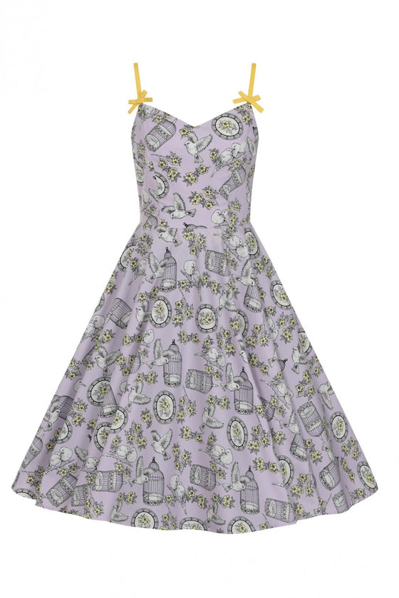 Hell Bunny Birdcage 50's Dress in Lavender
