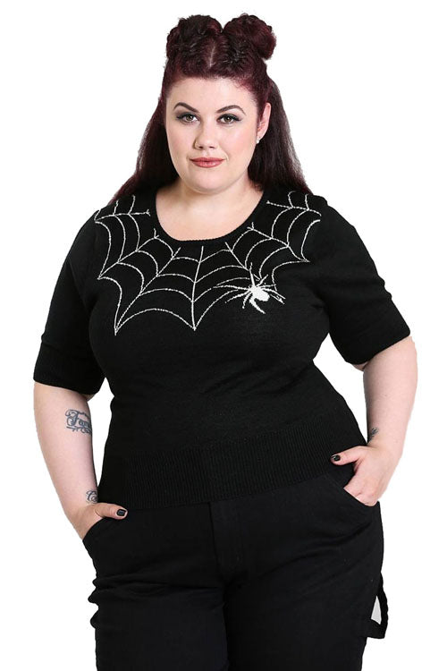 Hell Bunny Black Widow Jumper * NEW MATERIAL*