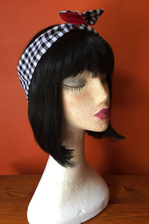 Reversible Wired Headband in Black Gingham Print & Red