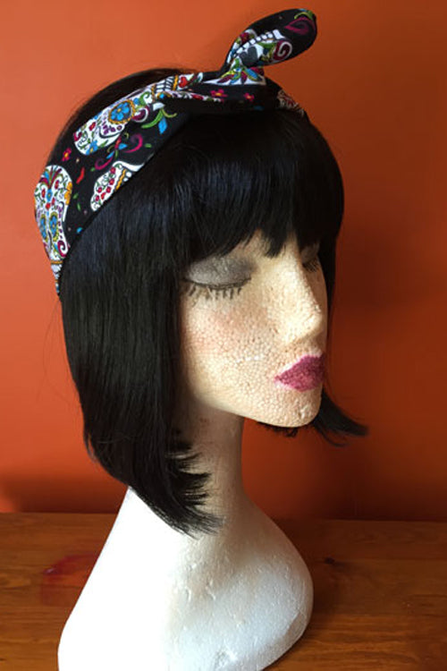Reversible Wired Headband in Black Sugar Skull Print & Black
