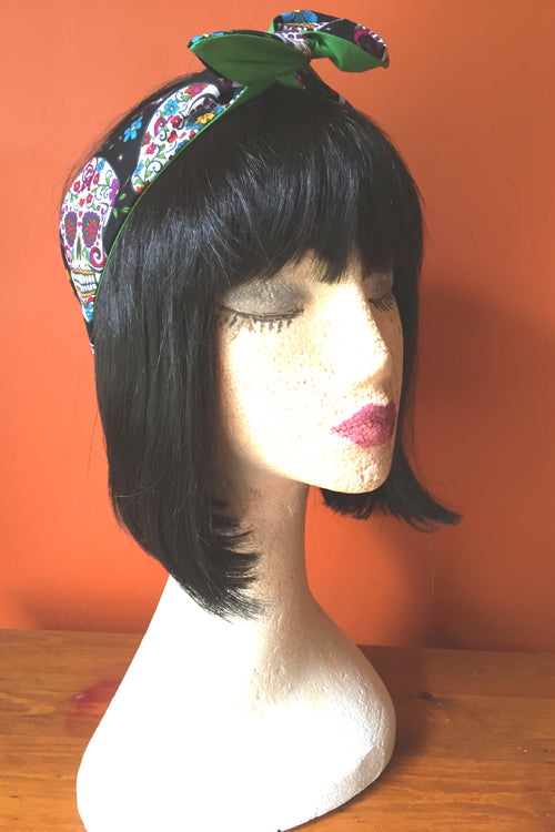 Reversible Wired Headband in Black Sugar Skull Print & Green