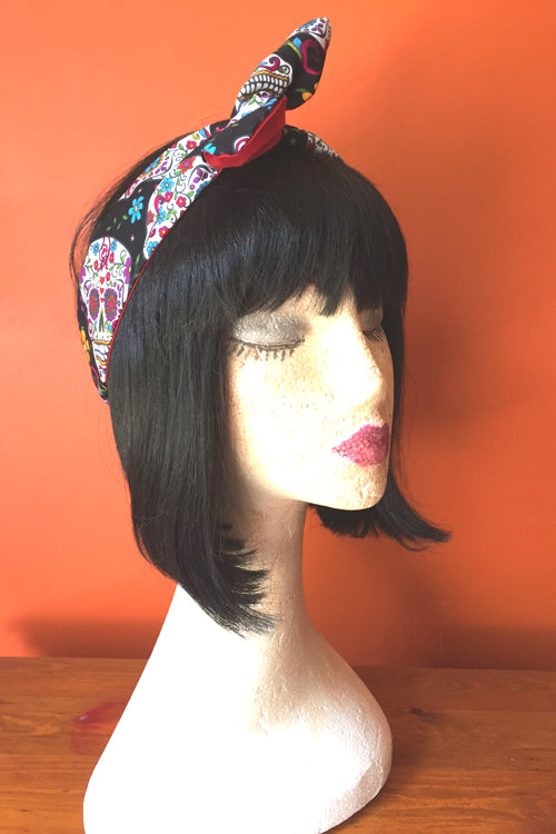 Reversible Wired Headband in Black Sugar Skull Print & Red