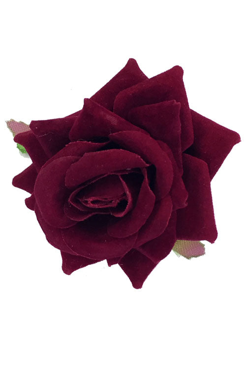Velvet Rose Clip/Brooch in Blood Red