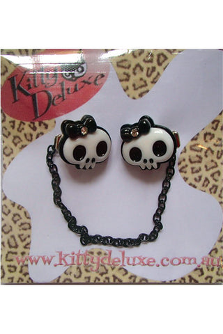 Kitty Deluxe Cardigan Clips in Bow Skull Design