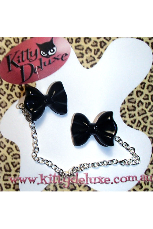 Kitty Deluxe Cardigan Clips in Plain Black Bow Design