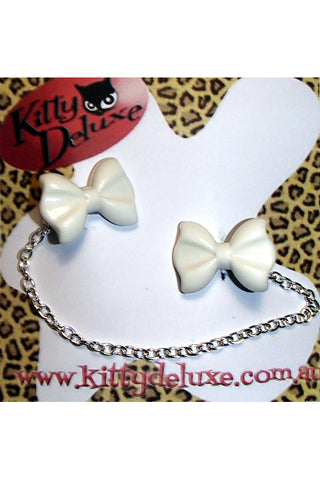 Kitty Deluxe Cardigan Clips in Plain White Bow Design
