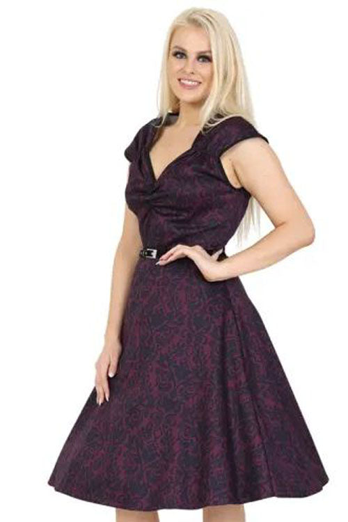 Lady Vintage Isabella Dress in Magenta Damask
